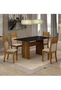 Conjunto De Mesa De Jantar Florença Com 4 Cadeiras Havaí Linho E Bege