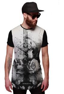 Camiseta Di Nuevo Swag Caveira Com Flor E Relógio Retrô Preta