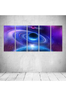 Quadro Decorativo - Space Planet Stars Colliding - Composto De 5 Quadros
