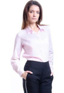 Camisa 101 Resort Wear Tricoline Rosa Listras Coral