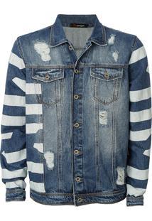 Jaqueta Pargan Jeans Destroyed Listras Azul/Branco