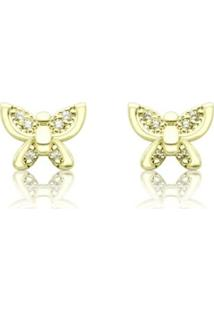 Brinco Piuka Borboletinha Mini Zircônia Folheado A Ouro 18K - Feminino-Dourado