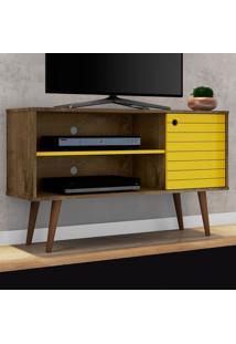 Rack Para Tv Jade Madeira Rústica/Amarelo - Móveis Bechara