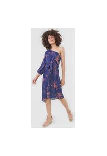Vestido Sacada Curto Ciano Azul-Marinho/Laranja