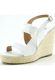Sandália Jk Shoes Anabela Branca - Kanui