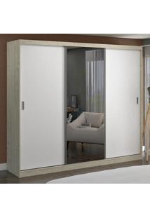 Guarda-Roupa Casal 3 Portas Com 1 Espelho 100% Mdf 7318E1 Marfim Areia/Branco - Foscarini