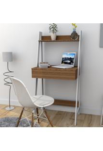 Escrivaninha Estante Com 1 Gaveta Trend Office Bliv - Castanho E Branco