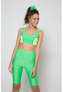Bermuda Oh,Boy! Biker Neon Feminina - Feminino-Verde Limão