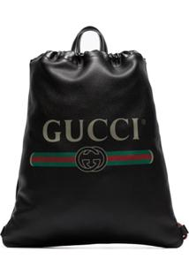 Gucci Logo Print Leather Drawstring Backpack - Preto