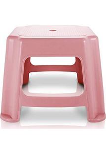 Banco Banquinho Baixo Resistente Banqueta Cadeira De Plástico Jacki Design Rosa