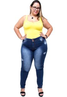 Calã§A Jeans Credencial Skinny Rasgadinha Arabela Azul - Azul - Feminino - Dafiti