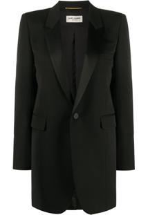 Saint Laurent Blazer Oversized Com Abotoamento Simples - Preto