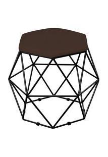 Puff Decorativo Aramado Preto Six L02 Suede Marrom - Lyam Decor
