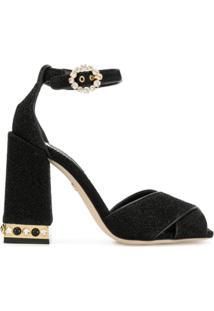 Dolce & Gabbana Sandália De Couro Com Salto Largo - Preto