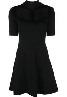 Redvalentino Vestido Com Detalhe De Tule - Preto