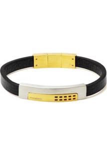 Bracelete Rosso Tudo Jóias Com Placa Gold E Fecho Magnético Couro Preto