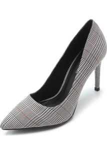 Scarpin Dafiti Shoes Xadrez Cinza