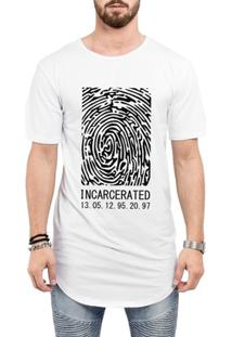 Camiseta Criativa Urbana Long Line Oversized Incarcerated - Masculino