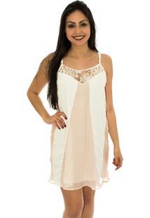 Vestido Capim Canela Amplo Plissado Branco