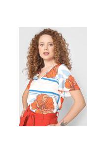 Blusa Mercatto Floral Listrada Off-White/Laranja