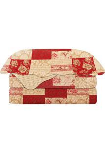 Conjunto De Colcha Patchwork Dalai King Size- Vermelho &Camesa