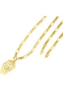 Pingente Tudo Joias Face De Cristo Com Corrente Folheado A Ouro 18K - Unissex-Dourado