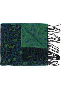 Paul Smith Echarpe Animal Print Com Franjas - Verde