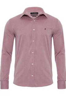 Camisa Manga Longa Slim Fit Rosa