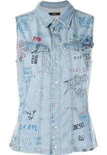 5d71654375 ... Diesel Camisa Jeans Sem Mangas - Azul
