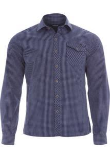 Camisa Masculina Destroyed Xadrez - Azul