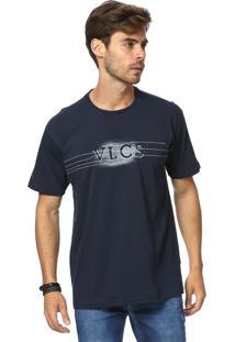 Camiseta Standard Vlcs Logotipia Malha Penteada Azul