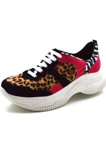 Tênis Flor Da Pele Sneakers Chuncky Recortes Em Nobucado Preto Com Detalhes Em Onça E Zebra