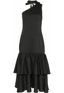 Rejina Pyo Tiered Drop Hem Cotton Midi Dress - Preto