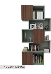 Estante Liv Geométrica- Verde Bellagio & Imbuia- 174Appunto Móveis