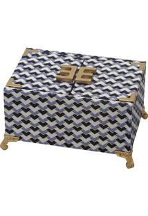 Porta Joias Geométrico Com Pés- Branco & Azul Marinho