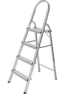 Escada De Alumínio Dobrável 4 Degraus Premium Integral Cinza
