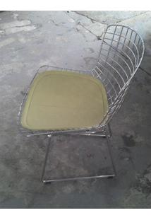 Cadeira Bertoia Assento Courrissimo Bege Cromada 18595 - Sun House