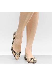 Sapatilha Couro Shoestock Bico Fino Snake Feminina - Feminino
