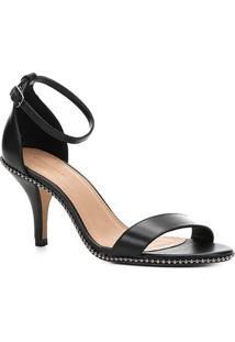 Sandália Couro Shoestock Salto Fino Glam Feminina - Feminino-Preto
