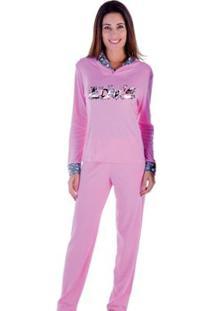 Pijama Feminino Victory Inverno Peluciado - Feminino-Rosa