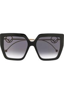 Fendi Eyewear Óculos De Sol Oversized 0410/S - Preto