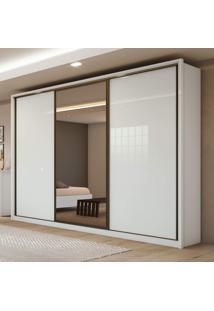 Guarda Roupa Casal Com Espelho 3 Portas De Correr 6 Gavetas Spazio Glass Siena Móveis Branco