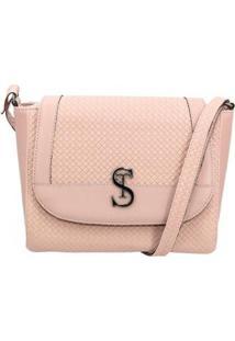 Bolsa Flap Selten Com Textura Fechamento Zíper Conforto Feminina - Feminino