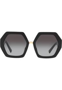 Valentino Eyewear Óculos De Sol Oversized Hexagonal Com Logo - Preto