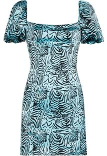 De La Vali Koko Tiger Print Dress - Azul