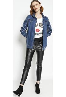 Jaqueta Jeans Com Pã©Rolas- Azulla Chocolãª