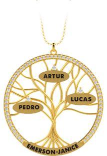 Corrente La Madame Co Mandala Ouro 18K Árvore Da Vida Cravejada Com Brilhantes