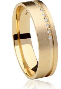 Aliança 100% Marca Própria Em Ouro 18K Com Diamantes Allure Dourada