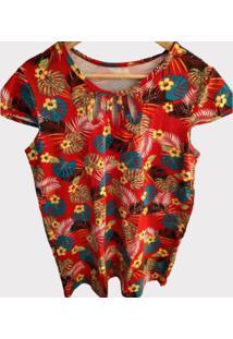 Blusa Estampada Em Viscolycra Plus Size - Amarelo/Azul/Vermelho - Feminino - Dafiti
