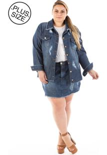 Jaqueta Jeans Oversized Destroyed Plus Size